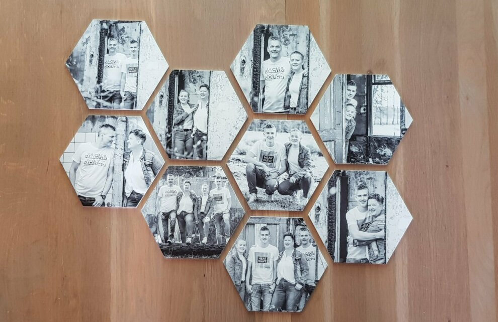 Zwart-wit foto's op Hexagons